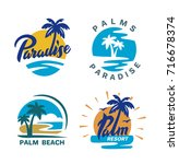 palm trees round emblems for... | Shutterstock .eps vector #716678374