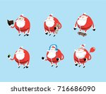 vector set with santa claus... | Shutterstock .eps vector #716686090