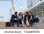 during break time business man... | Shutterstock . vector #716689504