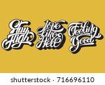 stay high.  love like hell. ... | Shutterstock .eps vector #716696110