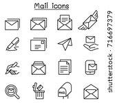 mail icon set in thin line style | Shutterstock .eps vector #716697379