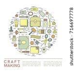 craft supplies poster. template ... | Shutterstock .eps vector #716697778