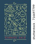 garage sale sign. template for... | Shutterstock .eps vector #716697799