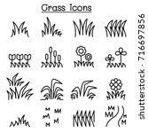 grass icon set in thin line...   Shutterstock .eps vector #716697856