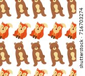 forest bear and fox animals... | Shutterstock .eps vector #716703274