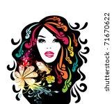 retro fashion girl | Shutterstock .eps vector #71670622