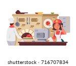 kitchen in pizzeria. chef... | Shutterstock .eps vector #716707834