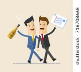 two happy business men ... | Shutterstock .eps vector #716708668
