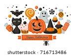 halloween holiday banner design ... | Shutterstock .eps vector #716713486
