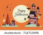 halloween banner design with... | Shutterstock .eps vector #716713498