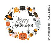 halloween holiday banner design ... | Shutterstock .eps vector #716713513