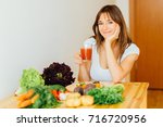 Healthy Brunette Woman Drinking ...