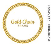 golden chain round border frame.... | Shutterstock .eps vector #716724034