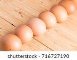 Organic Eggs On Wooden...