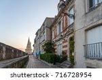 Evening view to the Tour de la Lanterne on the street of La Rochelle, Charente Maritime, France