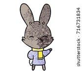 curious bunny cartoon   Shutterstock .eps vector #716731834