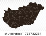 map hungary map. each city and... | Shutterstock .eps vector #716732284