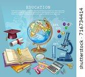 education background. open book ... | Shutterstock .eps vector #716734414