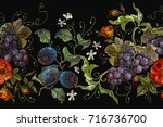 embroidery cluster of grapes ... | Shutterstock .eps vector #716736700