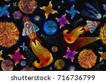 embroidery universe seamless... | Shutterstock .eps vector #716736799
