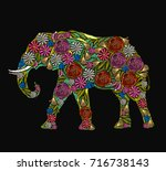 embroidery elephant. classical... | Shutterstock .eps vector #716738143