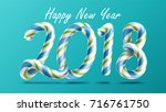 2018 happy new year vector. 3d... | Shutterstock .eps vector #716761750
