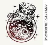 hand drawn magic bottle. vector ... | Shutterstock .eps vector #716765230
