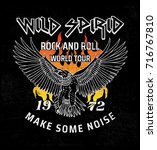 rock and roll theme with eagle... | Shutterstock .eps vector #716767810