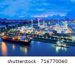 aerial view of twilight of oil... | Shutterstock . vector #716770060
