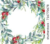 watercolor christmas floral... | Shutterstock . vector #716770678
