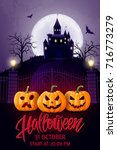 halloween hand drawn lettering  ...   Shutterstock .eps vector #716773279