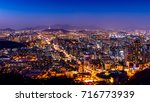 seoul cityscape and seoul tower ... | Shutterstock . vector #716773939