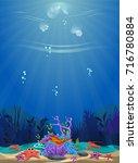 a beautiful underwater scene....   Shutterstock .eps vector #716780884