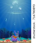 a beautiful underwater scene.... | Shutterstock .eps vector #716780893