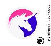 unicorn logo with head and horn ... | Shutterstock .eps vector #716783080
