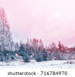 village in winter snow covered... | Shutterstock . vector #716784970