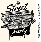 street party poster with... | Shutterstock .eps vector #716785639