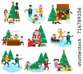set of christmas and new year... | Shutterstock .eps vector #716789356