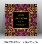 wedding invitation card... | Shutterstock .eps vector #716791276
