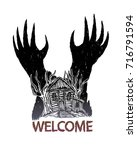 haunted house with devil hand...   Shutterstock .eps vector #716791594