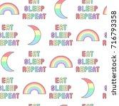"""eat  sleep  repeat"" seamless... | Shutterstock .eps vector #716793358"