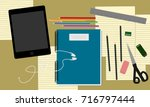 desk above  table top view of... | Shutterstock .eps vector #716797444