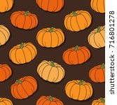 seamless pattern with pumpkins  ... | Shutterstock .eps vector #716801278