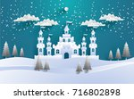 a great castle on a snowy... | Shutterstock .eps vector #716802898