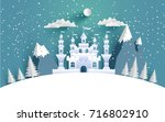 a great castle on a snowy... | Shutterstock .eps vector #716802910