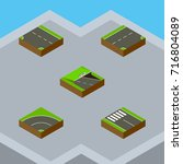 isometric road set of bitumen ... | Shutterstock .eps vector #716804089