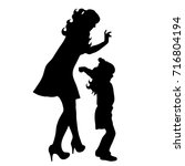 vector silhouette of family on... | Shutterstock .eps vector #716804194