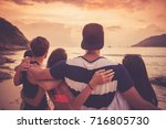 group of happy people at sea... | Shutterstock . vector #716805730