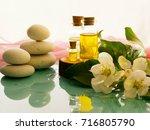 bottle of aroma essential oil... | Shutterstock . vector #716805790