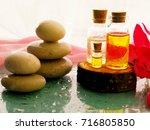 bottle of aroma essential oil... | Shutterstock . vector #716805850